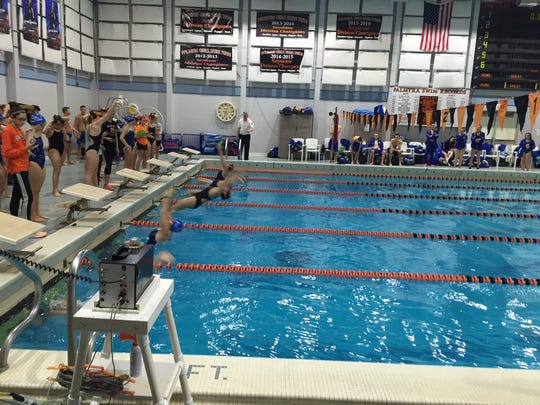 Palmyra and Lower Dauphin swimmers begin the 200 medley