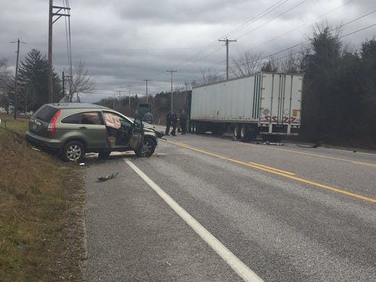 Honda CR-V and tractor trailer at the scene of a reported traffic accident on the 3400 block of York Road in Straban Township.