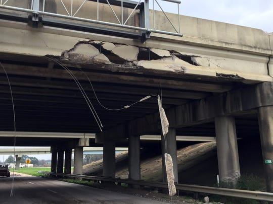 The I-20 overpass at U.S. 49 in Rankin County was damaged by an 18-wheeler on Wednesday morning.