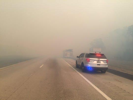 Visibility along Interstate 75 has worsened along Alligator
