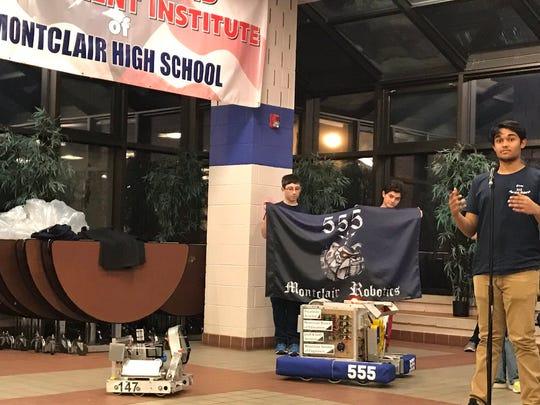Members of Montclair High School's two robotics teams speak at the March 13 Montclair Board of Education meeting.