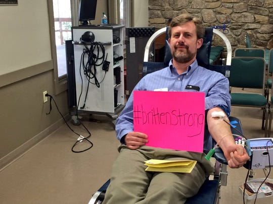 Daniel Bennett gives blood at a Montreat College blood drive March 3, 2017. The drive was held in honor of Montreat College's head track and field coach Britten Olinger. He was in a horrific accident Monday February 27, 2017 and paralyzed from the chest down.