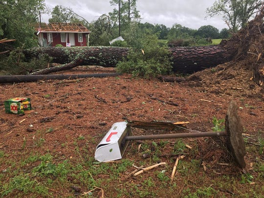 A building on Blackjack Road in Yazoo County appears to have had the entire roof torn off, as well has having most of the trees in the yard destroyed in Sunday's storms.