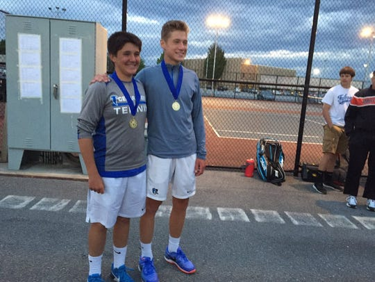 Cedar Crest's Dylan Tull, left, and Jack Muraika teamed