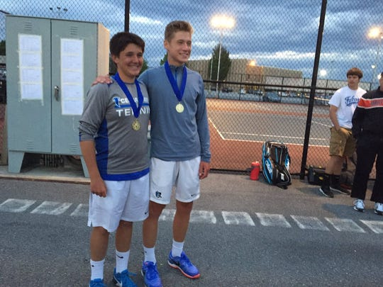 Cedar Crest's Dylan Tull, left, and Jack Muraika teamed to win the Lancaster-Lebanon League Flight One AAA doubles title on Monday.