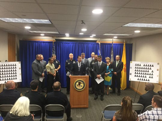 ATF officials join local law enforcement at a news conference to tout the success of the 2016 sting