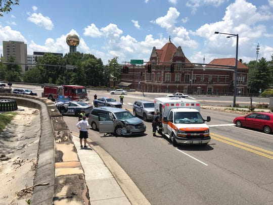 A crash involving a Knoxville police cruiser was reported