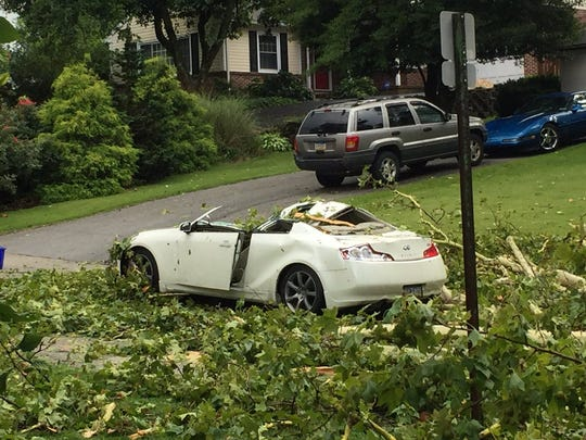 One person was injured as a result of a tree falling on the car after a Wednesday storm in York County.