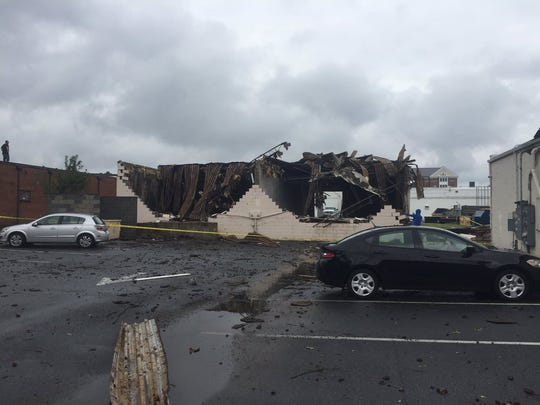 Damage to a building near the corner of Route 13 and Dogwood Drive after a possible tornado touched down in south Salisbury.