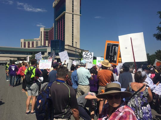Protesters outside the Reno-Sparks Convention Center,