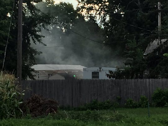 A mobile home caught fire at 3101 N. Starr Place on