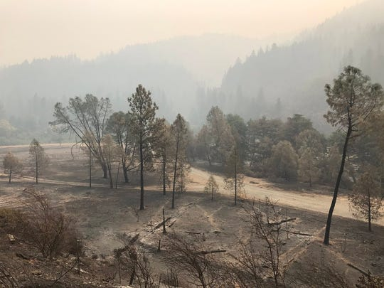The landscape off Highway 299 west of Weaverville has been left scarred by the Helena Fire, which started Aug. 30.
