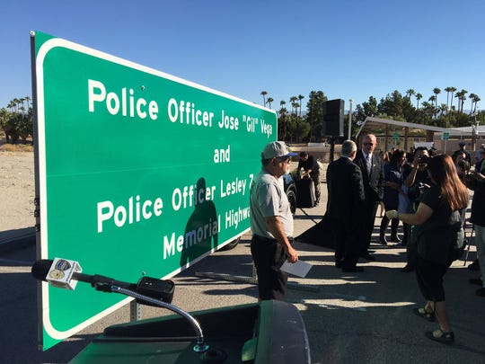 The new Highway 111 sign to honor fallen Palm Springs officers Jose Gilbert Vega and Lesley Zerebny.