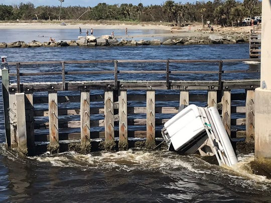 Two boats overturned in the Sebastian Inlet Oct. 16, 2017.