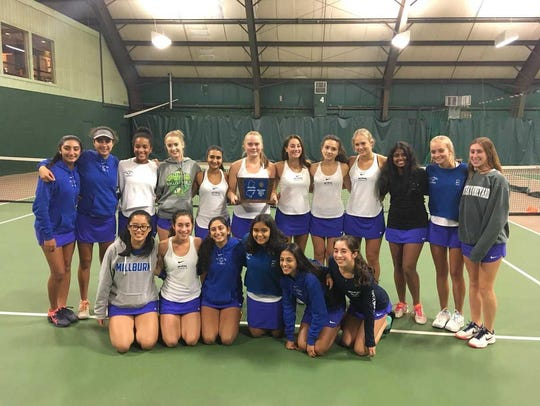 The Millburn Millers girls tennis team poses with its