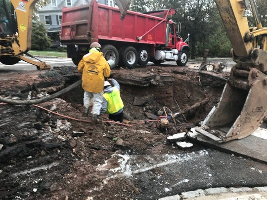 A water main break under the intersection of North Mountain Avenue and Van Vleck Street in Montclair in October.