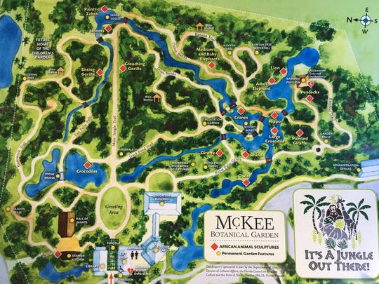"""Map showing where all the """"It's a Jungle Out There!"""" sculptures are located."""
