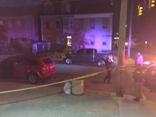 Police investigate a shooting in York on Sunday.