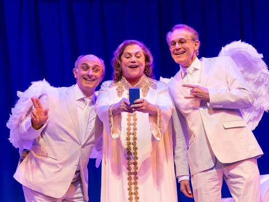"David Javerbaum's provocative ""An Act of God,"" starring from left to right Stephen DeRosa, Kathleen Turner and Jim Walton, will run through Dec. 23 at George Street Playhouse in New Brunswick"