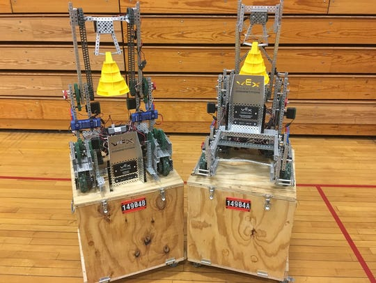 Two of the Express Robotics Club's robots during the