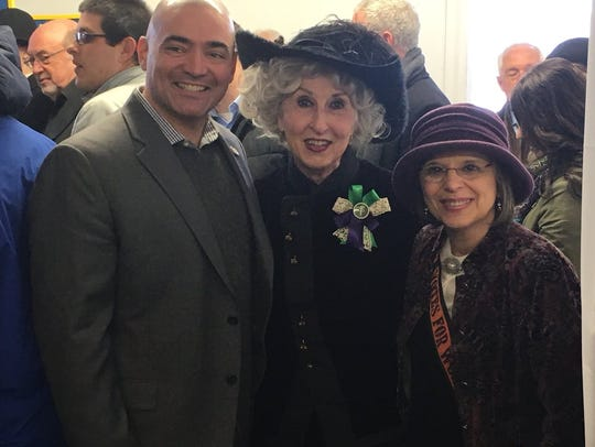 State Sen. Fred Akshar, Margaret Messana and Assemblywoman Donna Lupardo celebrate the Ladies of Lisle's 100th anniversary of casting the first votes by women in New York.