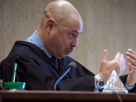 Essex County Superior Court Judge Michael L. Ravin addresses defendant Hanif Thompson as he is sentenced to 30 years in prison for the felony murder of Dustin Friedland in Superior Court on Newark, N.J., on Thursday, Jan. 17, 2018. Thompson is one of three defendants sentenced on Thursday for their roles in the fatal carjacking at The Mall at Short Hills on Dec. 15, 2013.