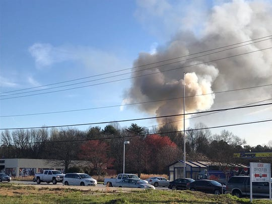 A large smoke cloud could be seen from the fire at the Plantations at Haywood apartment homes