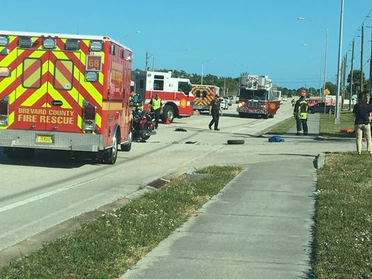 Motorcycle crash in Palm Bay