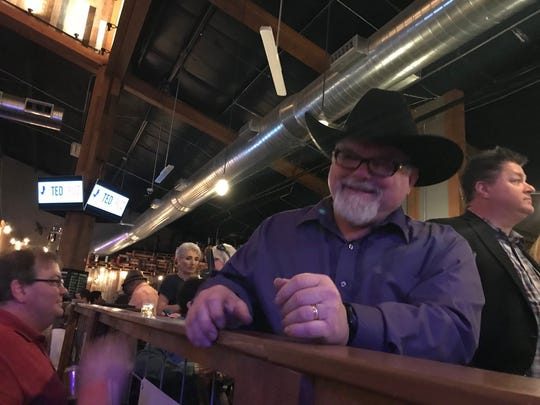 Stephen Willeford, who engaged in a gun battle with  Sutherland Springs killer Devin Patrick Kelley, in the VIP section of U.S. Sen. Ted Cruz's re-election rally in Stafford, Texas, on April 2, 2018.