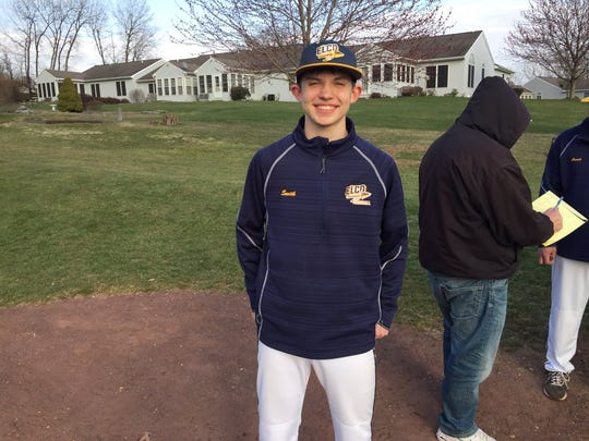 Freshman Dakota Smith was all smiles after throwing a two-hit shutout in his first varsity start for Elco, a 4-0 win over Lebanon on April 11.