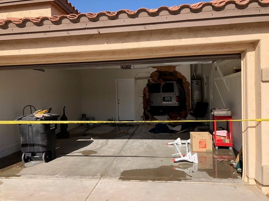A photo of the worker's van that crashed into the kitchen