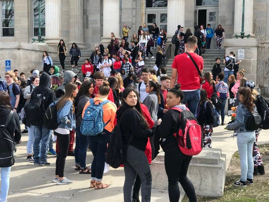 Students at East High School in Des Moines walked out