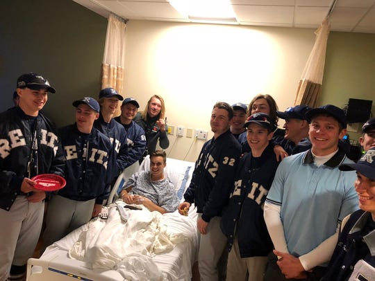 The Reitz baseball team visited Camden Hancock in the