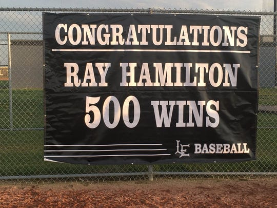 A banner at Lakota East celebrates the 500th win of Thunderhawks baseball coach Ray Hamilton
