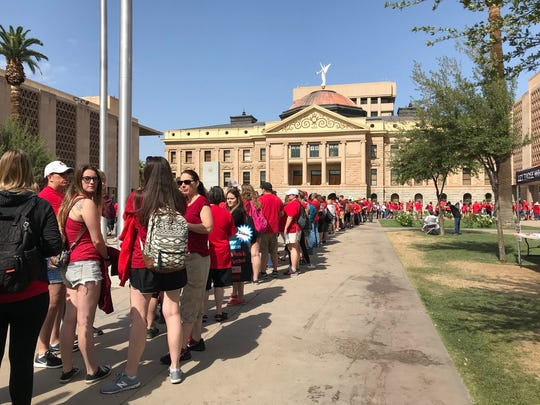 The lines continue to be long on Day 5 of the #Red4Ed  teacher walkout at the state Capitol on May 2, 2018.