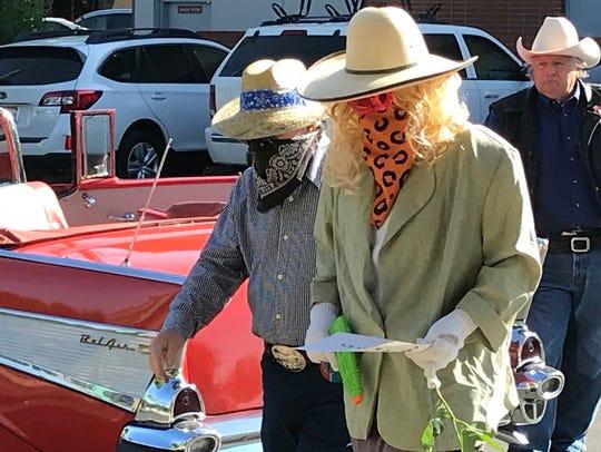 Lone Stranger and Sidekick robbing downtown Cornerstone