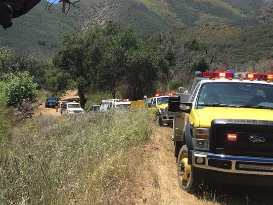 Ventura County firefighters and state park rangers responded to a medical emergency in Sycamore Canyon on Saturday.