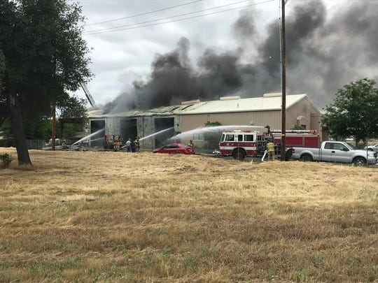 Fire at Westside Motors in Redding.