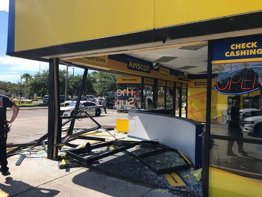 Vehicle smashes into store