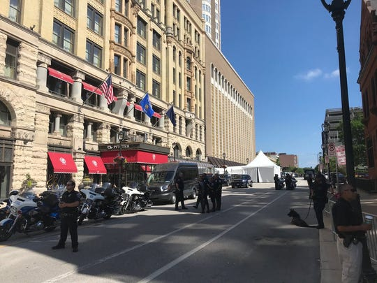 President Donald Trump's motorcade was parked outside the Pfister Hotel during the fundraiser.