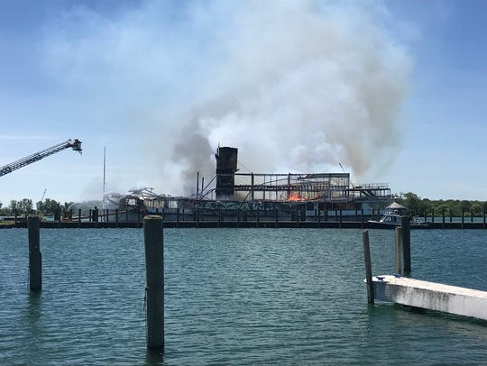 The SS Ste. Claire, also known as the Boblo Boat, burns