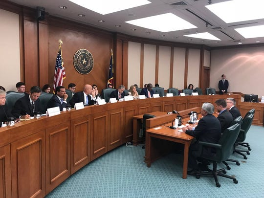 The Senate Select Committee on Violence in Schools and School Security hears testimony on July 18, 2018, in the Texas Capitol.