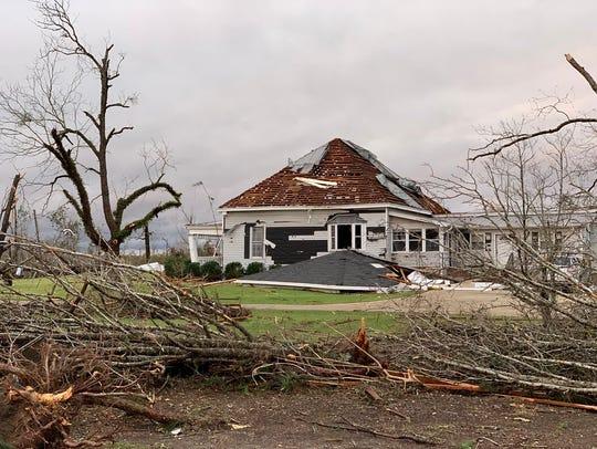 Tornado damage in Beauregard, Ala. in Lee County on