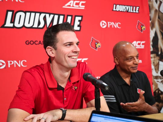 David Padgett, left, with assistant coach Trent Johnson.