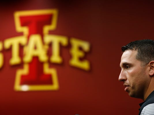 Iowa State head NCAA college football coach Matt Campbell speaks during his weekly news conference, Monday, Oct. 23, 2017, in Ames, Iowa. A week after 23rd-ranked Iowa State struggled to beat Army at home in September of 2005, it quietly slipped out of the Top 25. Few knew it would take a dozen years _ and three different head coaches _ for the Cyclones to finally return to the rankings. (AP Photo/Charlie Neibergall)