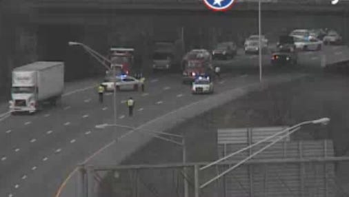 Traffic camera shows crash on Interstate 40 east.