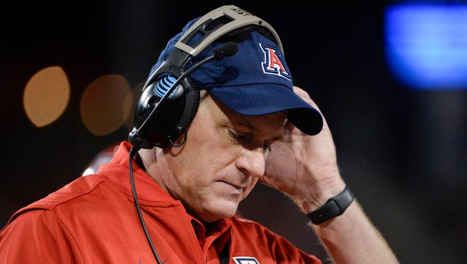 Nov 11, 2017: Arizona Wildcats head coach Rich Rodriguez walks on the sideline during the first half against the Oregon State Beavers at Arizona Stadium.