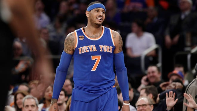 Carmelo Anthony reacts to being called for a foul during the second half of the Knicks' game against the Brooklyn Nets on Thursday.