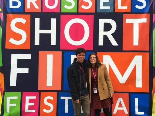 Filmmaker Sheridan O'Donnell and his fiancee at the Brussels Short Film Festival.