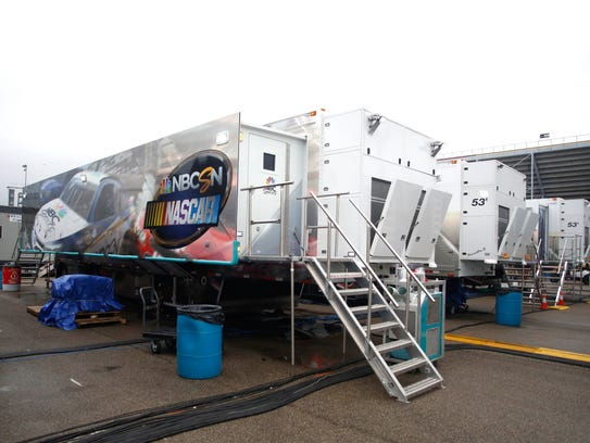 NBC Sports Network trailers on the grounds of Michigan
